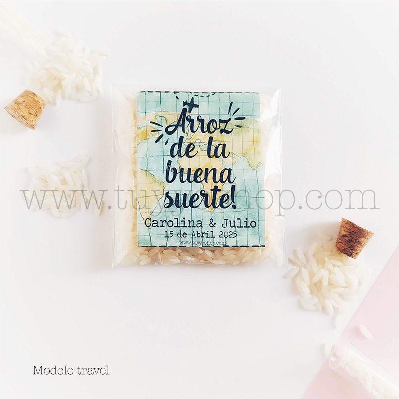 Bolsa para arroz de boda. Adhesivo cuadrado personalizable. Varios modelos. bolsa de arroz personalizada travel