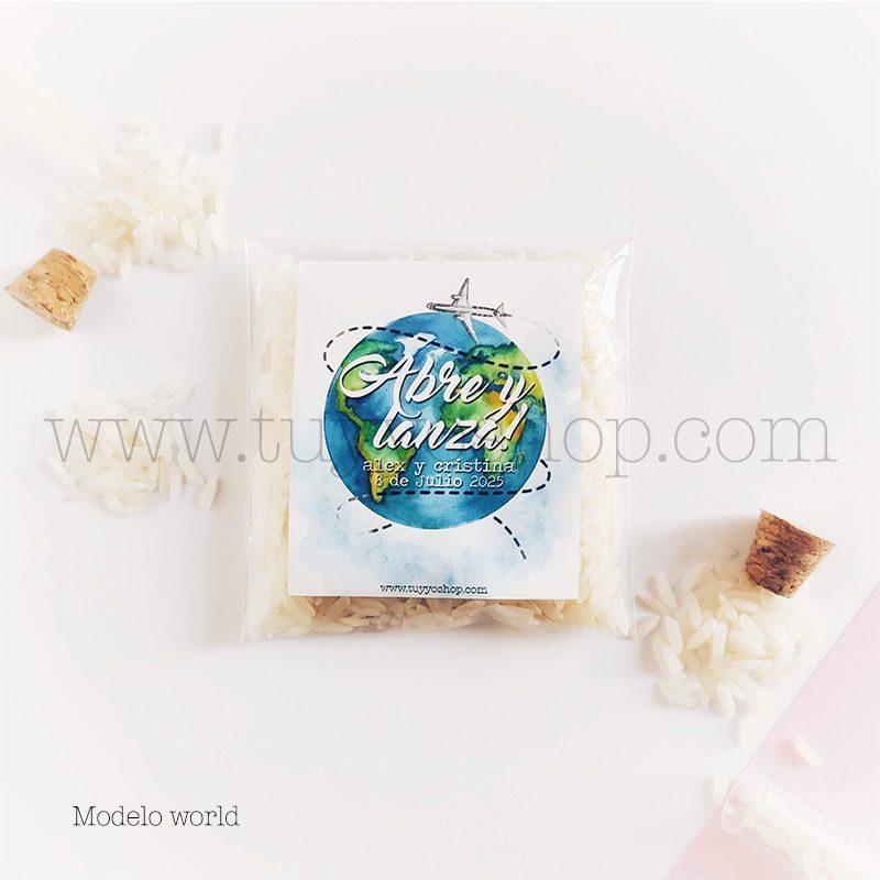 Bolsa para arroz de boda. Adhesivo cuadrado personalizable. Varios modelos. bolsa de arroz personalizada world
