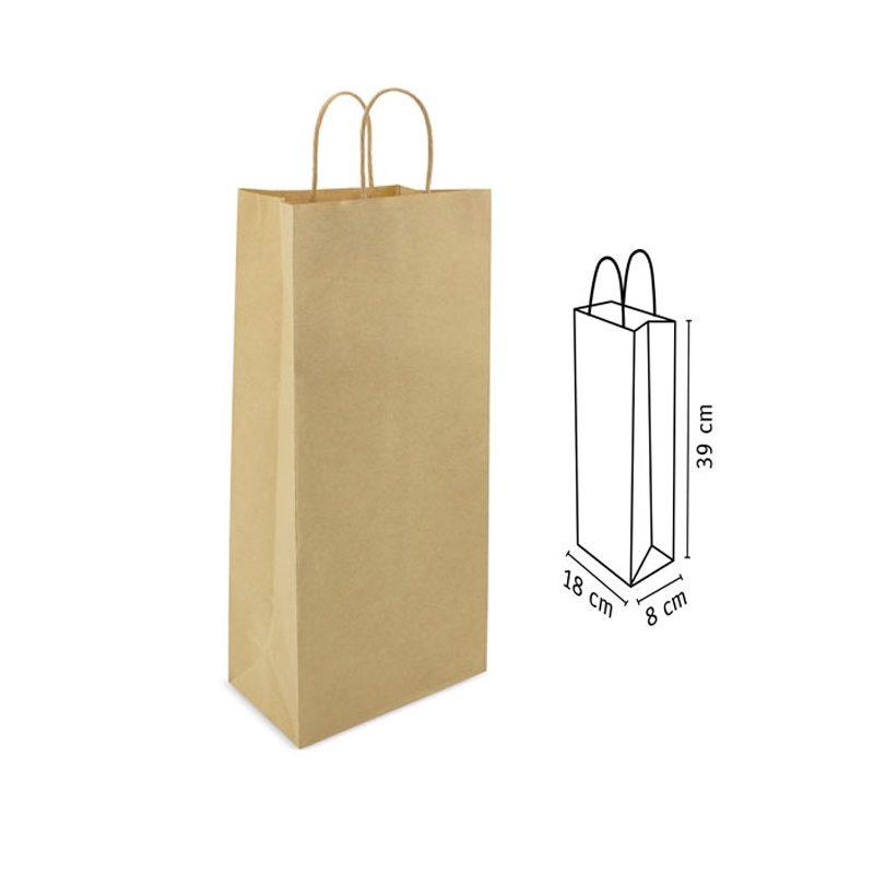 Bolsa de papel para regalo. Kraft. Asa pequeña. 39x18x8 bolsa de papel para regalo tower medidas