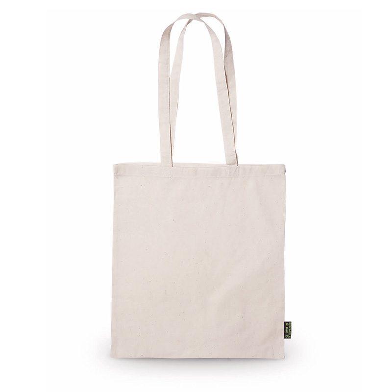 Bolsa 100% algodón. En color natural. Asas largas. 70cm bolsa ecologica para regalo de boda