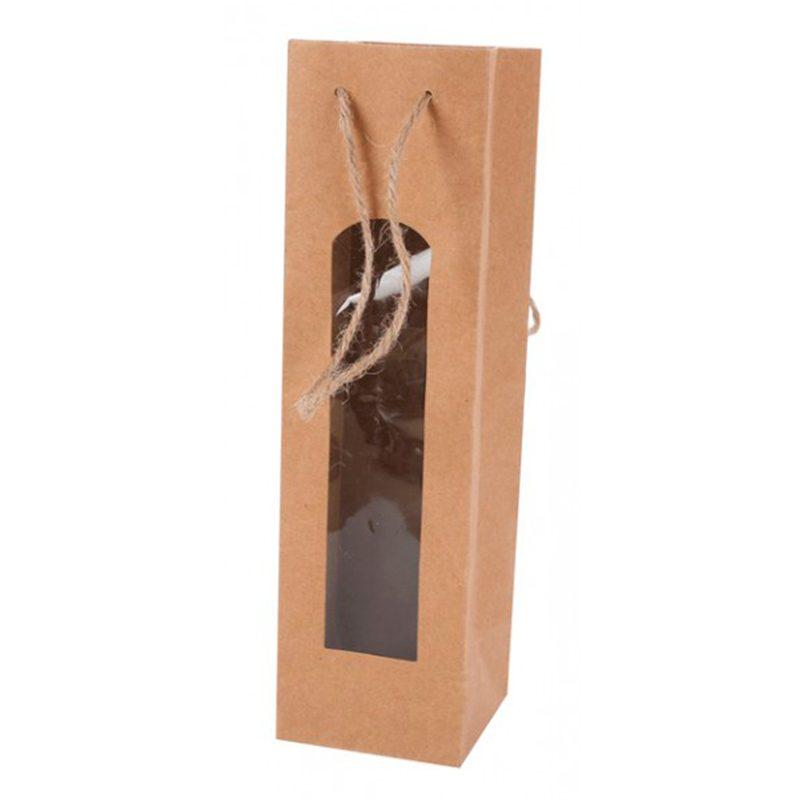Bolsa papel kraft con ventana para vino