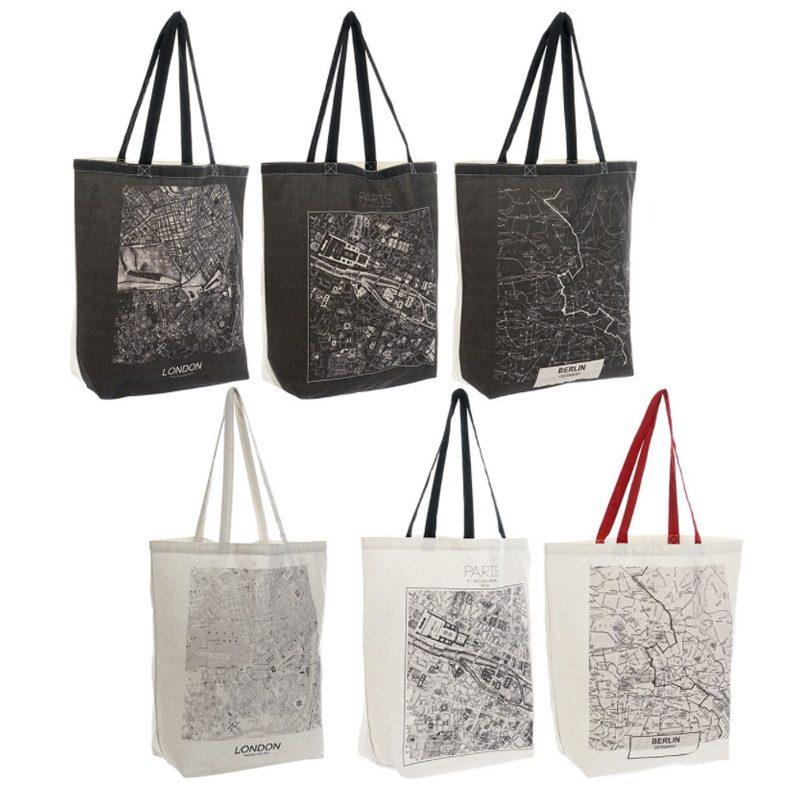 Bolsa de algodón con asa. Modelo Citys. 6 diseños. 43x40cm bolsa para boda modelo citys
