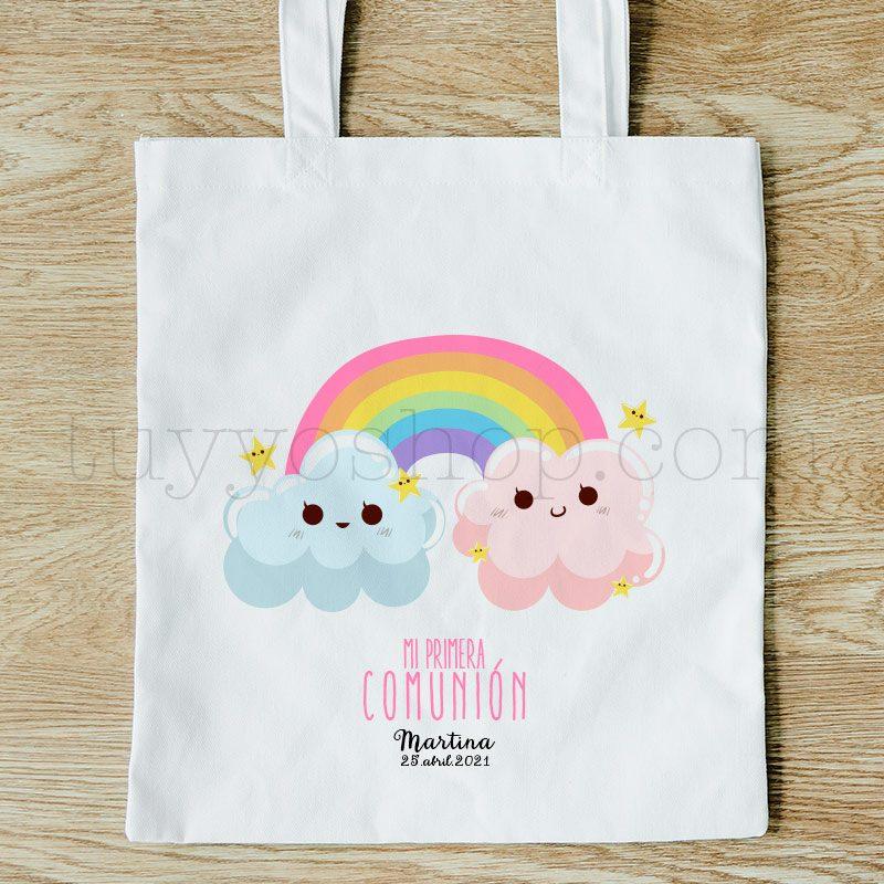 Bolsa personalizada para comunión. Modelo arcoiris bolsa para comunion rainbow