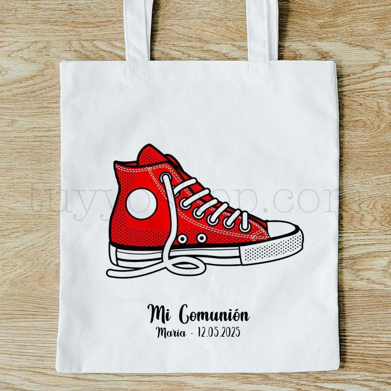 Bolsa personalizada para comunión. Modelo Zapatilla bolsa para comunion zapatilla