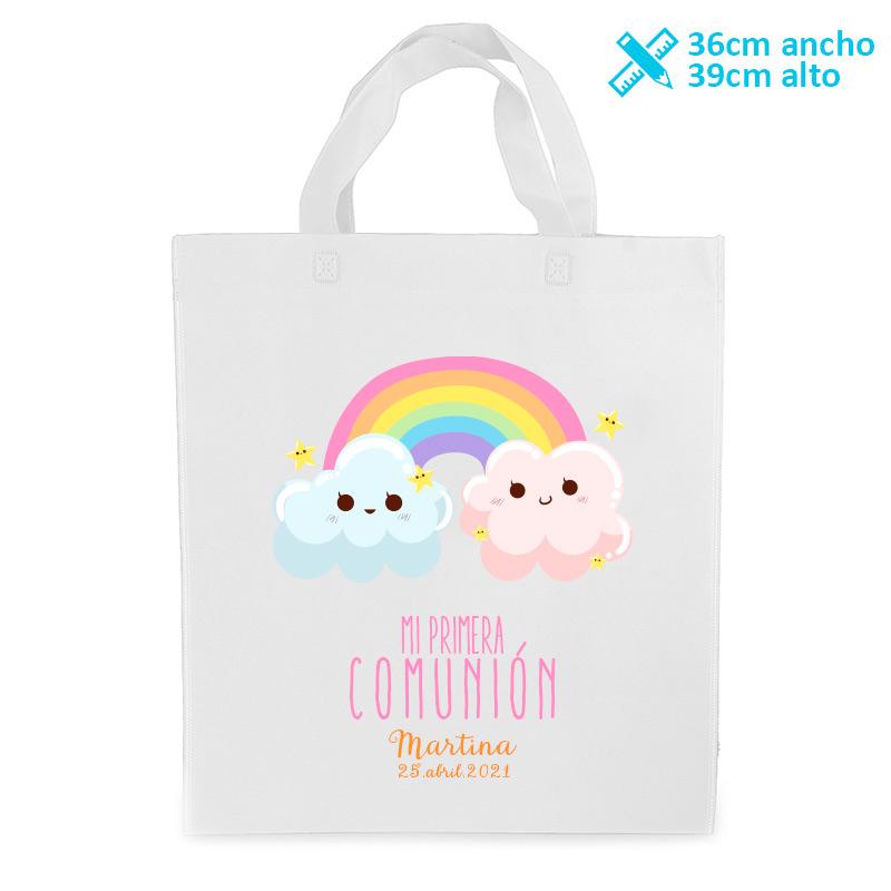 Bolsa personalizada para comunión. Modelo arcoiris