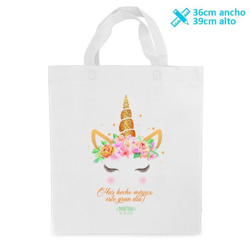 Bolsa personalizada para comunión. Modelo magic unicornio