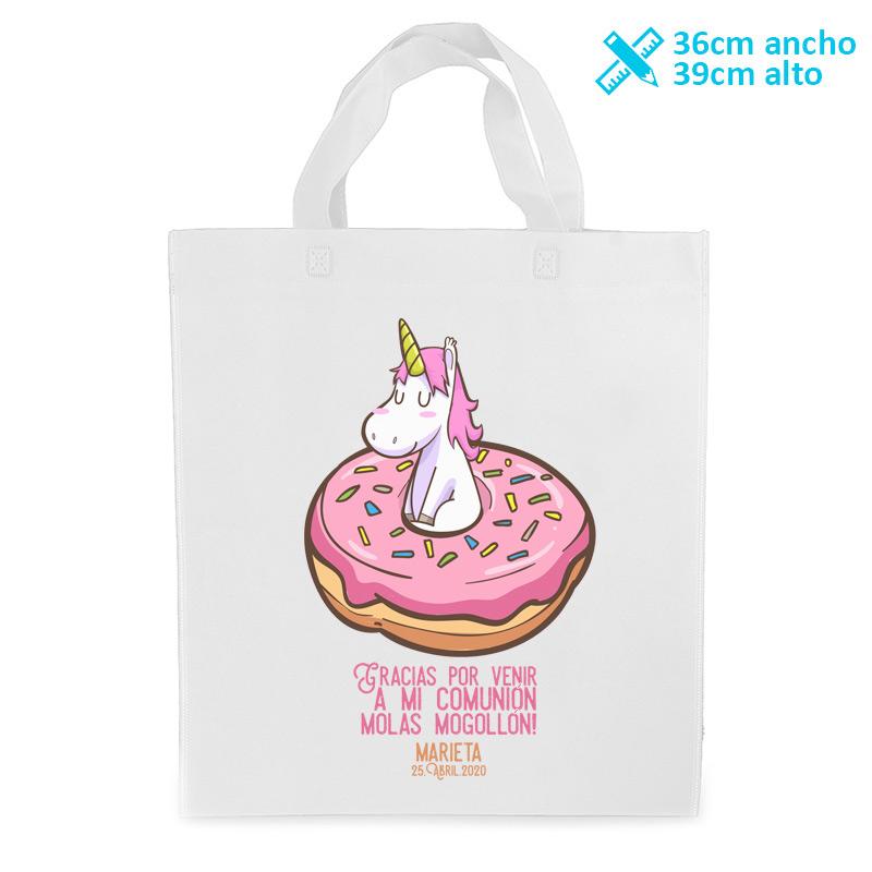 Bolsa personalizada para comunión. Modelo Donut unicornio