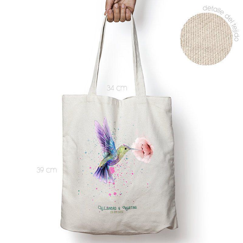 Bolsa personalizada poliester-algodón. Gran calidad. 34x39cm. Modelo Colibri bolsa personalizada para boda colibri