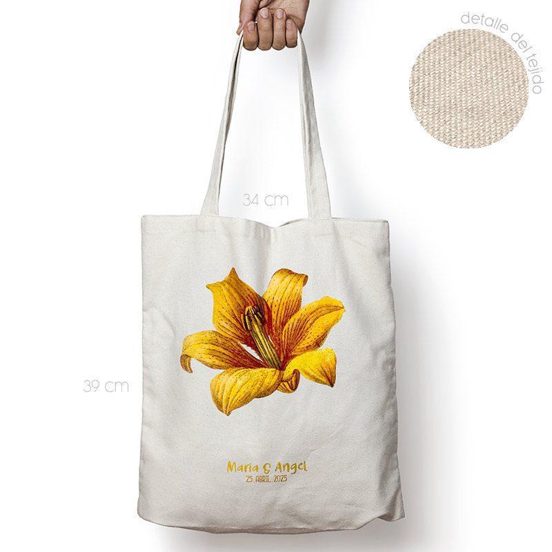 Bolsa personalizada poliester-algodón. Gran calidad. 34x39cm. Hibisco bolsa personalizada para boda flor amarilla