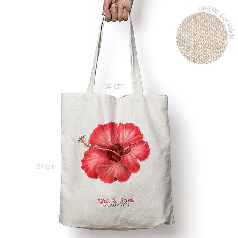 Bolsa personalizada poliester-algodón. Gran calidad. 34x39cm. Hibisco rojo bolsa personalizada para boda flor roja