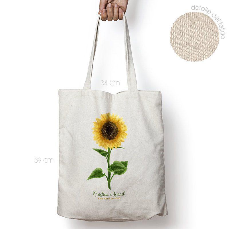 Bolsa personalizada poliester-algodón. Gran calidad. 34x39cm. Girasol bolsa personalizada para boda girasol
