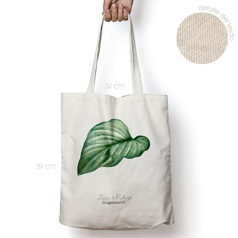 Bolsa personalizada poliester-algodón. Gran calidad. 34x39cm. Hoja bolsa personalizada para boda hoja