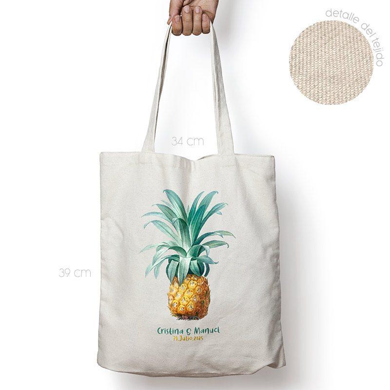 Bolsa personalizada poliester-algodón. Gran calidad. 34x39cm. Piña bolsa personalizada para boda pina