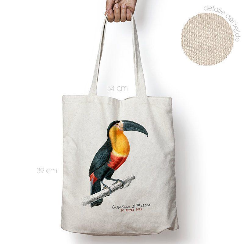 Bolsa personalizada poliester-algodón. Gran calidad. 34x39cm. Modelo Tucán bolsa personalizada para boda tucan