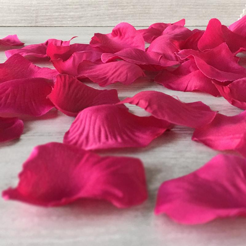 Bolsa de pétalos de rosas fucsia
