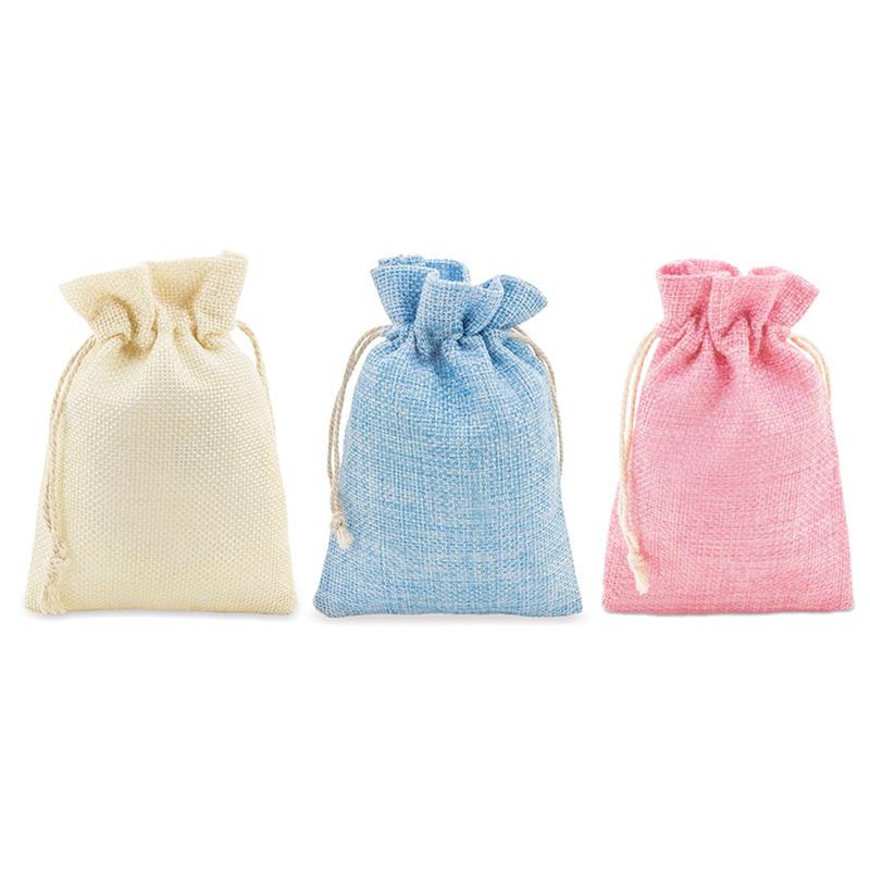 Bolsa tipo saco de pita. Varios colores. 10x14cm. Cierre con cuerda