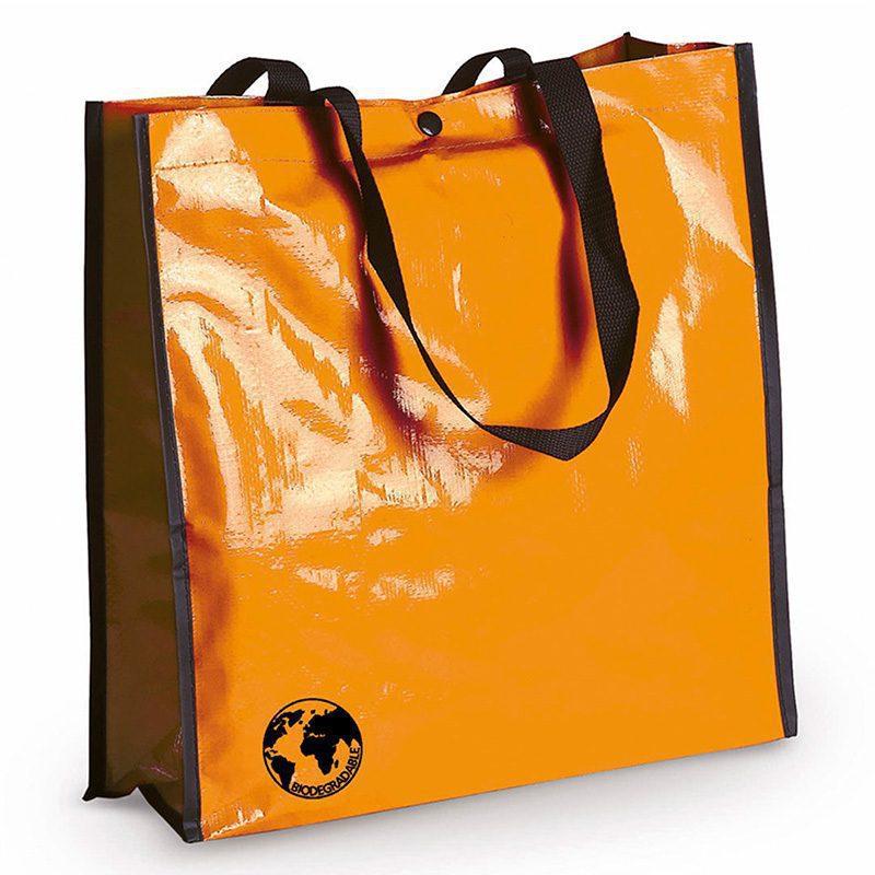 Bolsa biodegradable. Varios colores. Asas reforzadas. Acabado cosido. bolsa recilada detalles boda naranja