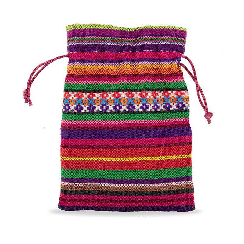Bolsa de poliester. Tejido étnico. Cierre con cuerda. bolsa tejido etnico