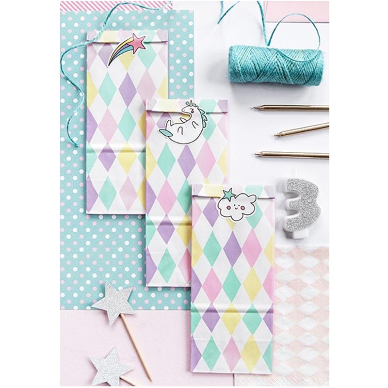 Pack 6 bolsas para regalo, modelo unicornio. Incluye pegatinas.