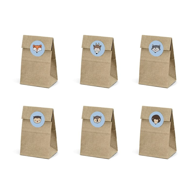 Pack 6 bolsas kraft para regalo. Animales del bosque. Incluye pegatinas.