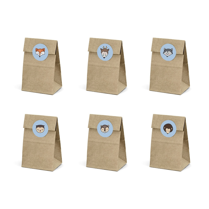 Pack 6 bolsas kraft para regalo. Animales del bosque. Incluye pegatinas.