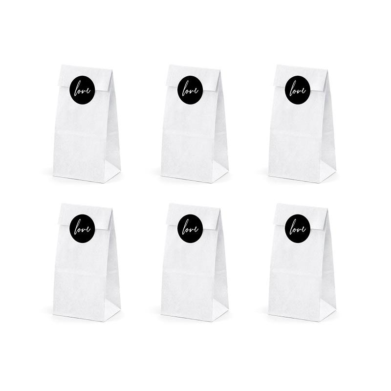 Pack 6 bolsas blancas. 6 pegatinas LOVE de regalo.