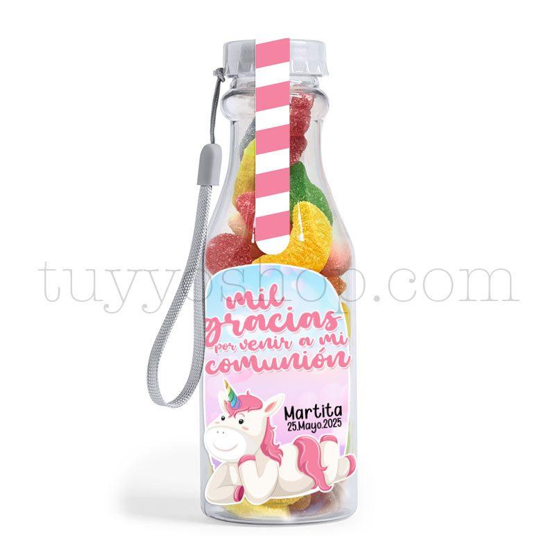 Ultimos regalos para invitados añadidos bote golosina comunion unicornio azucar