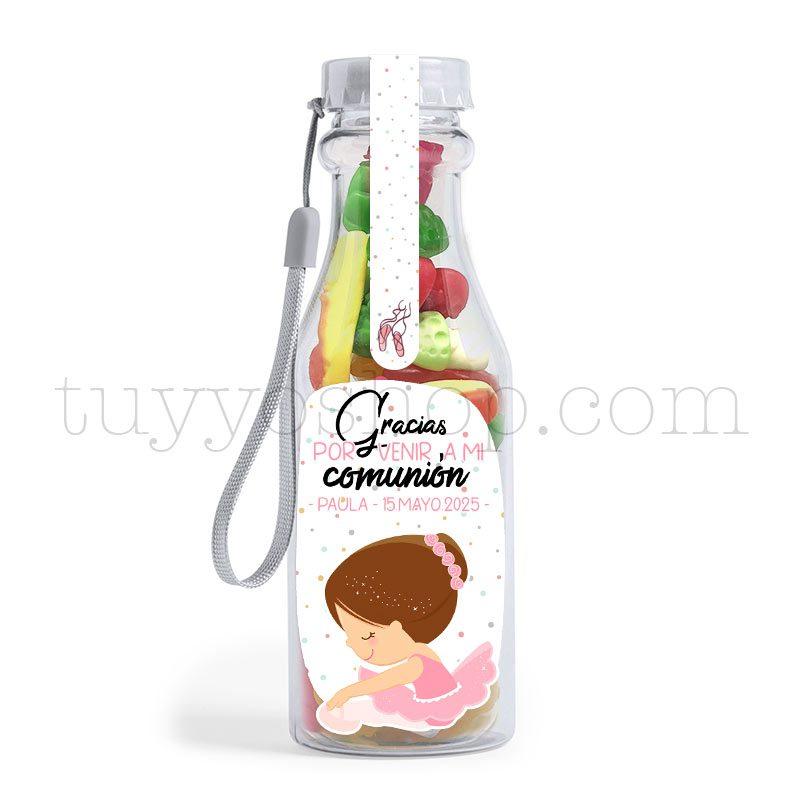 Botella reutilizable, llena de golosinas, personalizable, modelo bailarina bote golosinas comunion bailarina brillo