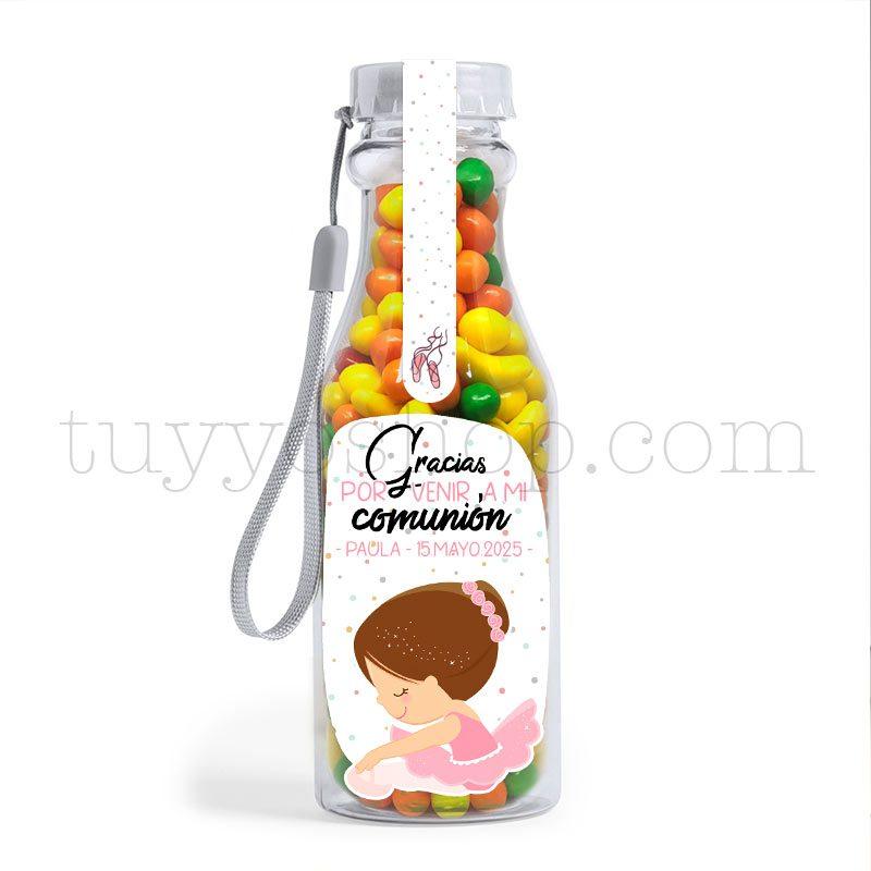 Botella reutilizable, llena de golosinas, personalizable, modelo bailarina bote golosinas comunion bailarina frutita