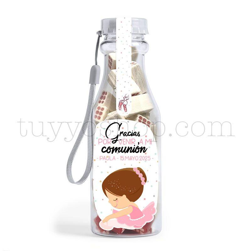 Botella reutilizable, llena de golosinas, personalizable, modelo bailarina bote golosinas comunion bailarina ladrillo