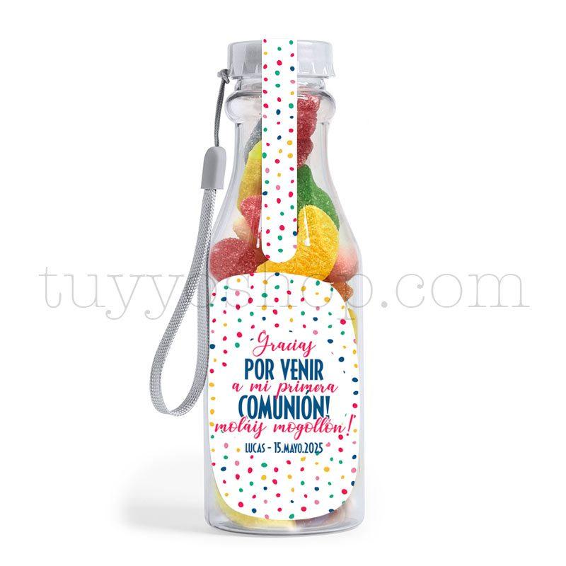 Ultimos regalos para invitados añadidos bote golosinas comunion colors azucar