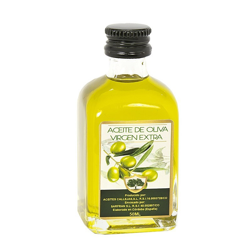 Botella aceite de oliva. 50ml. Botella de cristal. Modelo mini