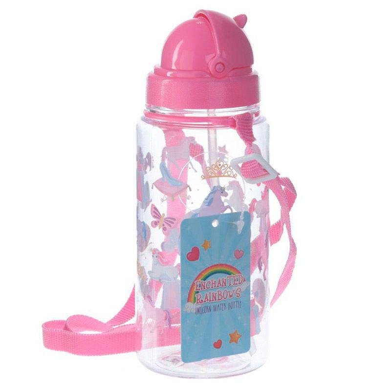 Botella de agua infantil, plástico, con pajita, unicornio, 450ml botella agua infantil pajita unicornio 450ml