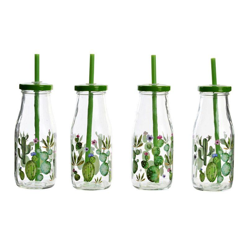 Botella de cristal con tapa y pajarita. Modelo cactus. 4 diseños.