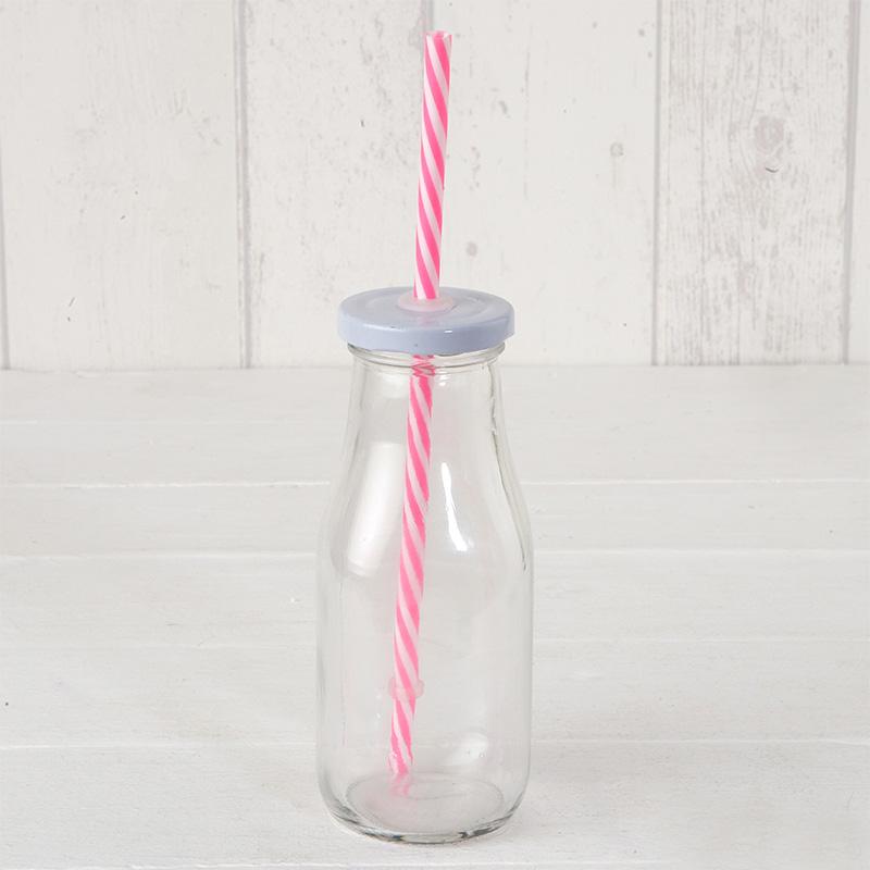 Botella de cristal, estilo lechera, con tapa y caña en color rosa