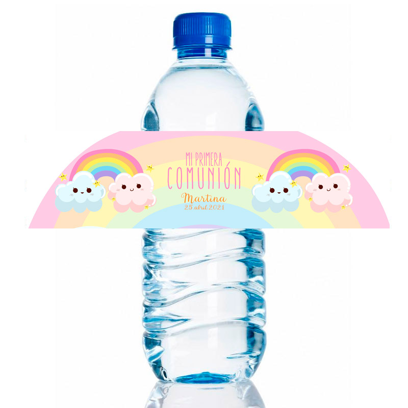 Etiqueta para personalizar botella de agua. Modelo Arcoiris