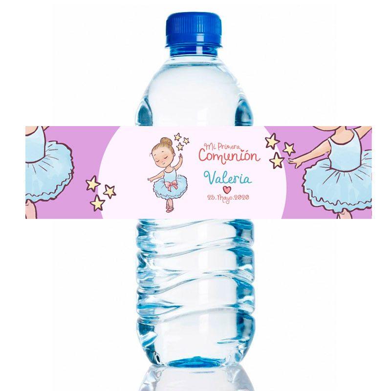 Etiqueta para personalizar botella de agua. Modelo Bailarina