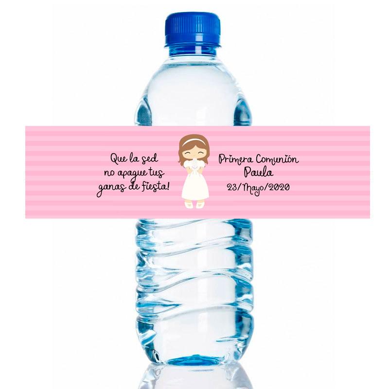 Etiqueta para personalizar botella de agua. Modelo Chica