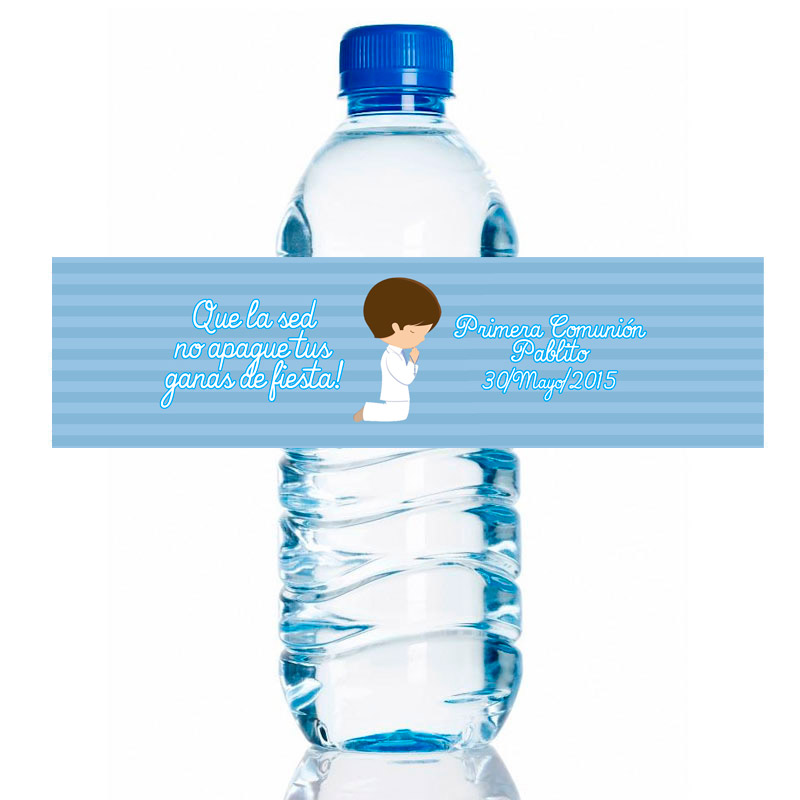 Etiqueta para personalizar botella de agua. Modelo Chico