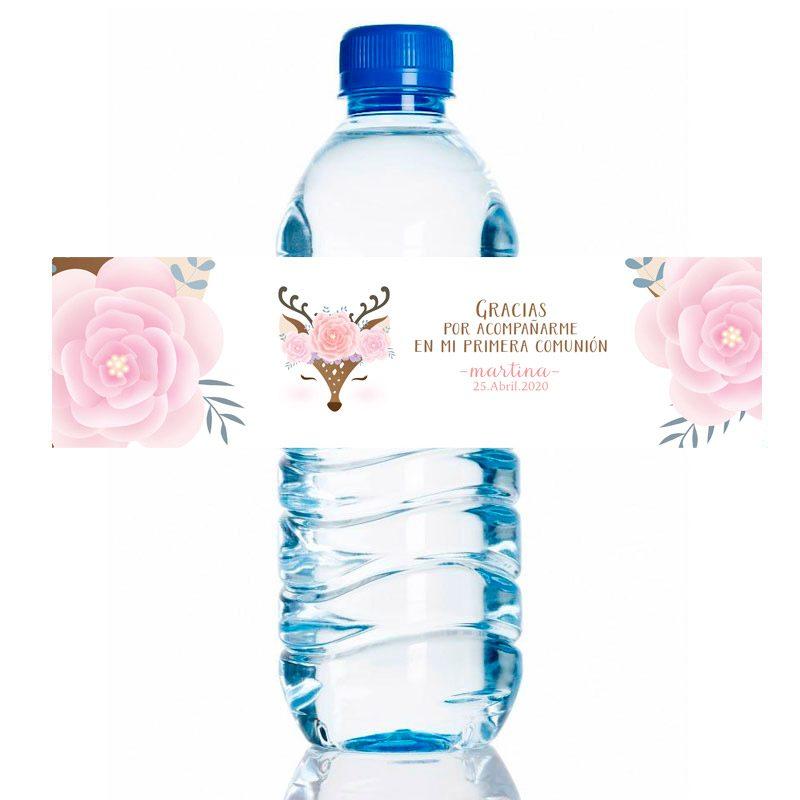 Etiqueta para personalizar botella de agua. Modelo Foxy