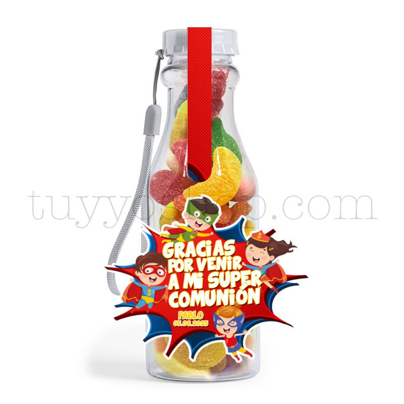Ultimos regalos para invitados añadidos botella golosinas comunion superheroes azucar