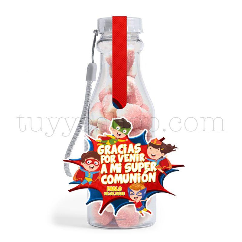 Botella reutilizable, llena de golosinas, personalizable, superhéroes botella golosinas comunion superheroes besitos