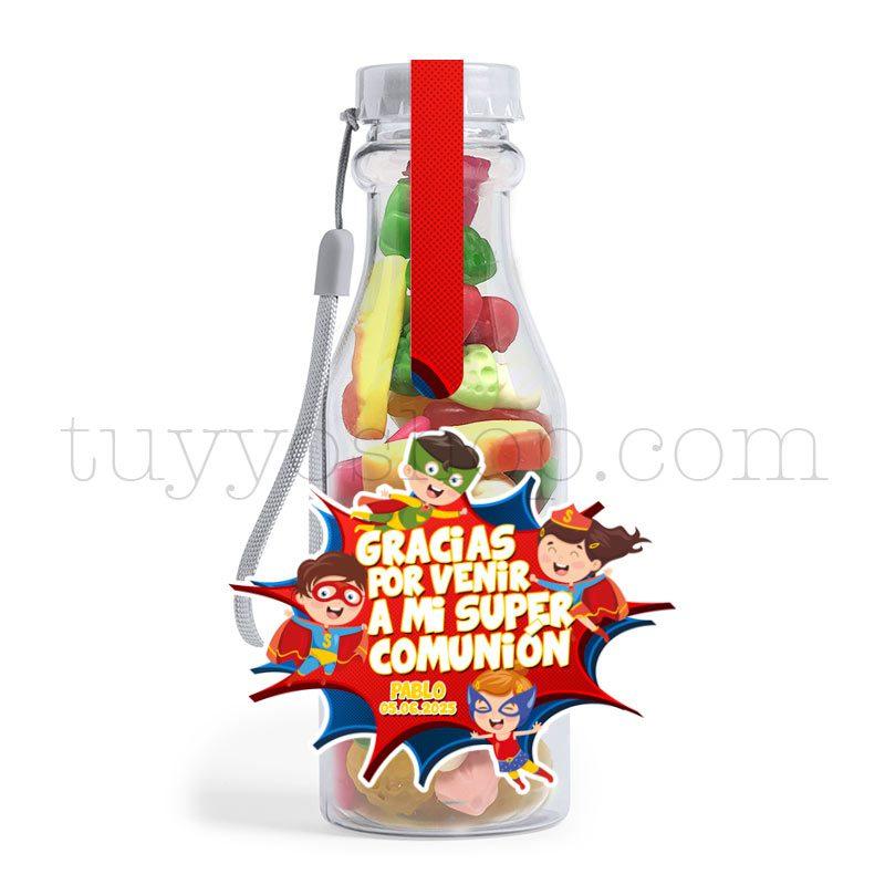 Botella reutilizable, llena de golosinas, personalizable, superhéroes botella golosinas comunion superheroes brillo