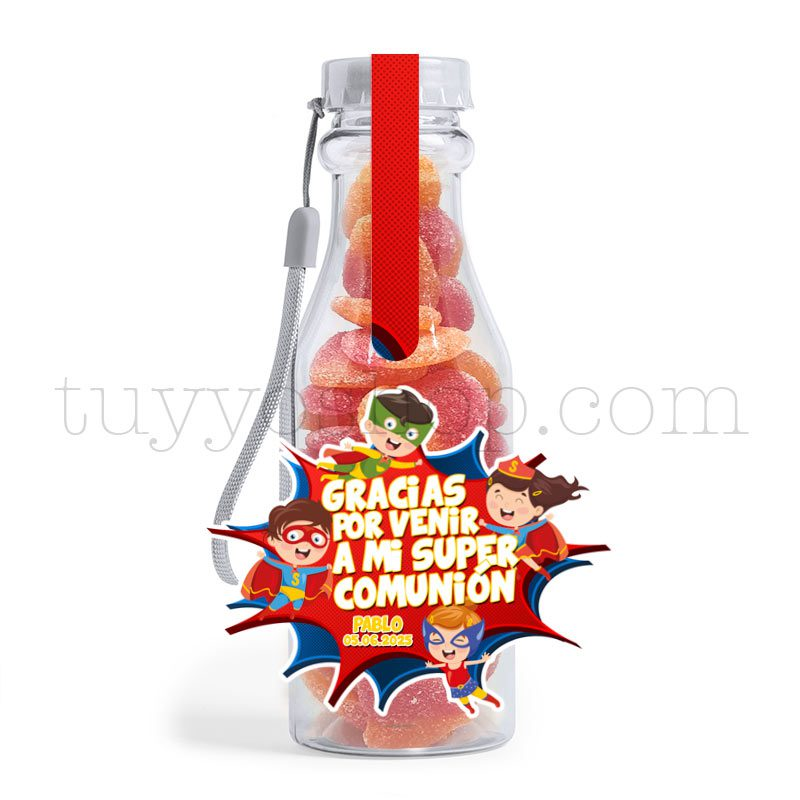 Botella reutilizable, llena de golosinas, personalizable, superhéroes botella golosinas comunion superheroes corazon