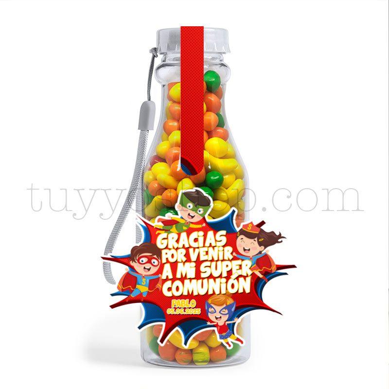Botella reutilizable, llena de golosinas, personalizable, superhéroes botella golosinas comunion superheroes frutita