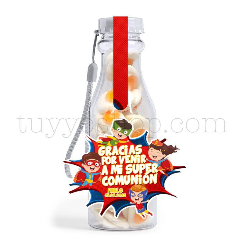 Botella reutilizable, llena de golosinas, personalizable, superhéroes botella golosinas comunion superheroes huevofrito