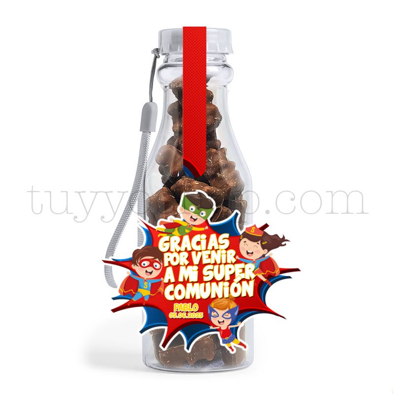 Botella reutilizable, llena de golosinas, personalizable, superhéroes botella golosinas comunion superheroes ositos