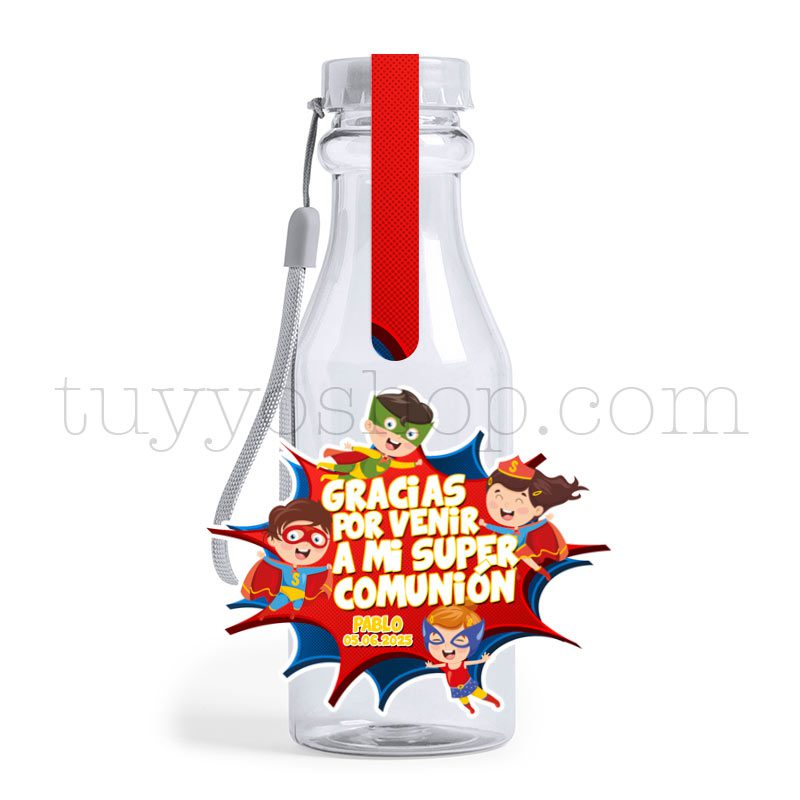 Ultimos regalos para invitados añadidos botella golosinas comunion superheroes vacia