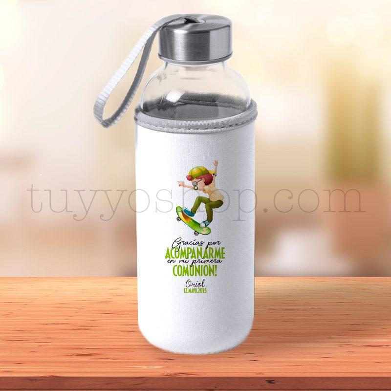 Ultimos regalos para invitados añadidos botella h2o de cristal reutilizable personalizada comunion chico en patin