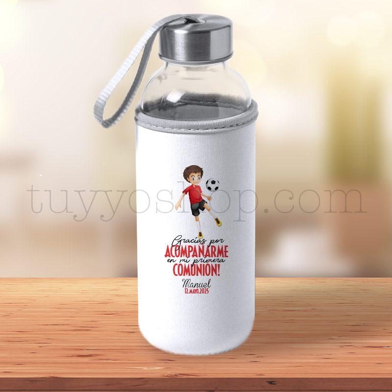 Botella H2O de cristal, reutilizable, personalizada, comunión chico fútbol